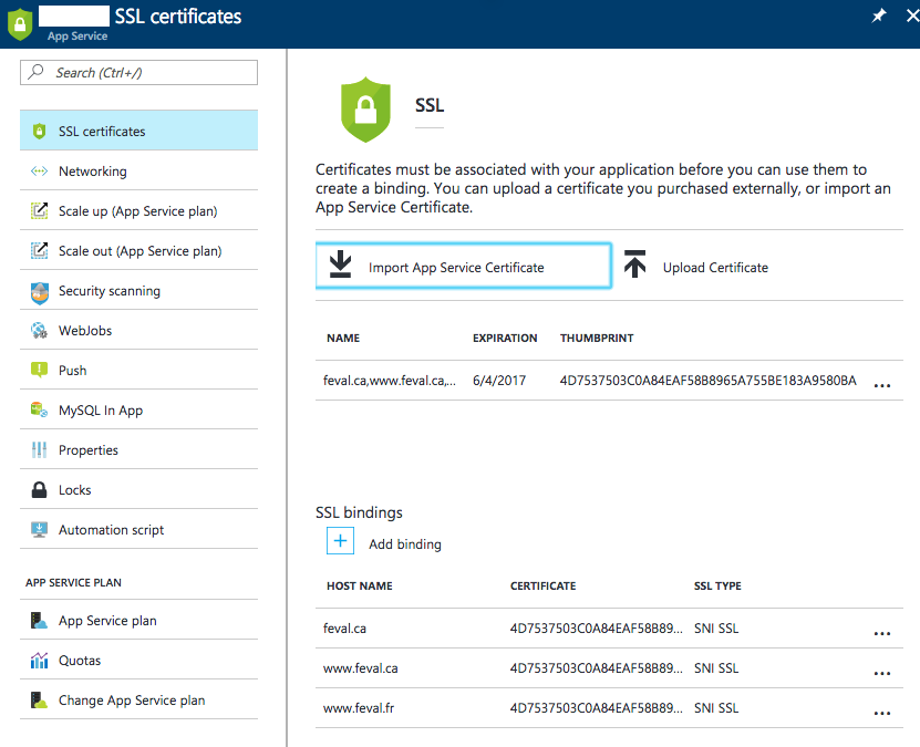 Add SSL to Azure WebApps with Letsencrypt