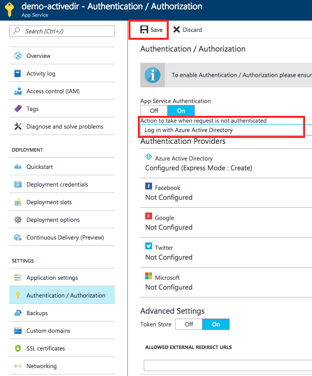 Azure Active Directory authentication and authorization for